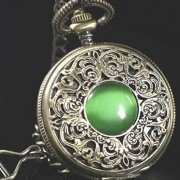Antique Copper Alloy Mechanical Pocket Watch With Emerald Old Man Gift