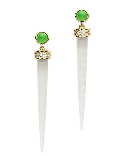 Melanie Auld Modern Turquoise/Cream Cat's Eye Drop Earrings - Melanie Auld