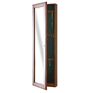 SEI Wall-Mount Jewelry Armoire with Mirror, Walnut
