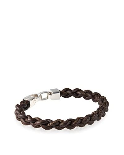 Tateossian Italian Leather Braided Bracelet, Dark Brown