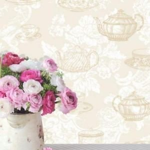 Coloroll Teacups Wallpaper - Cream by New A-Brend