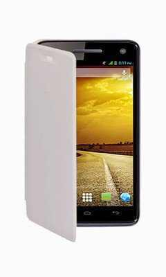 Kaira Premium Flip Cover for Micromax Canvas Juice A77/A177 - White Color  available at amazon for Rs.179
