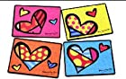 New Romero Britto Set 4 Placemats Heart Mats Wood Cork Back Hardboard Gift Home