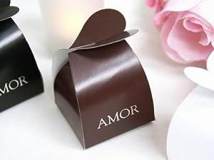 "Amazon.com - 100 2"" Chocolate Brown AMOR Recuerdos Para Bodas Hispanic"