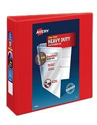 Avery-Dennison 79325 Heavy-Duty View Binder with Locking 1-Touch EZD Rings, Red - 3 in.