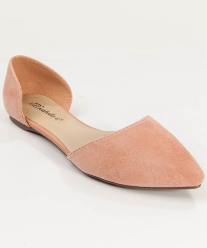 Women Fashion Designer Inspired Pointy Toe D'Orsay Flat Nude (10)