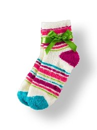 Bath & Body Works Accessories Oh-So Cozy Fresh Cotton Scented & Shea-Infused Lounge Socks - White with Multi-Colored Horizontal Strips