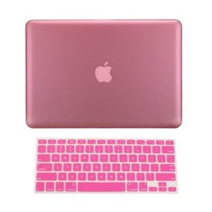 TopCase 2 in 1 Retina 13-Inch PINK Rubberized Hard Case Cover for Apple MacBook Pro 13.3