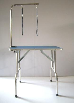 Dog Cat Grooming Table 95cm x 55cm x 78cm Stainless Steel Frame and Legs Adjustable Portable Folded