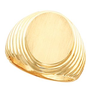 14K Yellow Gold Gents Signet Ring with Brush Finish :16.00X14.00 MM Size: 13