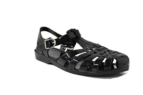 Kali Footwear Women's Angel-Low Fisherman T-Strap Jelly Flat Sandals, Black 10 (Jelly Bean Sandals For Women compare prices)