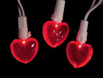 valentine day lights hearts - Set of 20 Red LED Mini Valentine's Day Heart