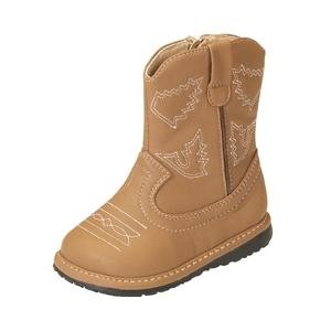 Squeak Me Shoes Boys Suede Toddler Cowboy Boot Size 3 - Brown
