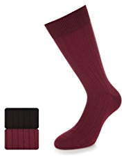 2 Pairs of Autograph Ribbed Socks with Cashmere