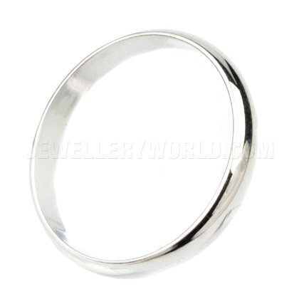 3mm 18ct White Gold D-Shape Wedding Ring
