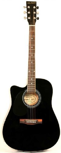 Left Handed Black Acoustic Electric Guitar Full Size Thinline Cutaway Body with Case and Picks (Full Size Thinline Acoustic compare prices)