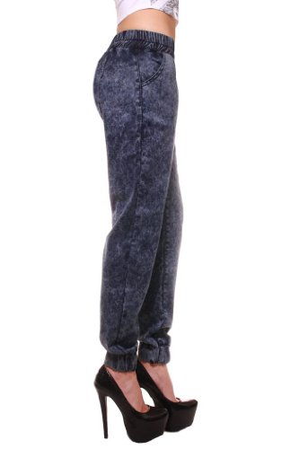 Exocet Womens Denim Elastic Waist Harem Pant 13 Cloud