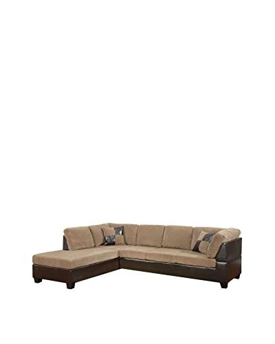 Acme Furniture Connell Sectional Sofa, Light Brown/Espresso
