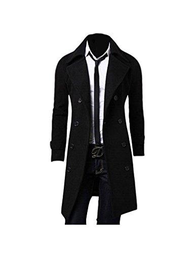 Zacoo-Slip da uomo doppiopetto cappotto invernale cappotto nero Medium
