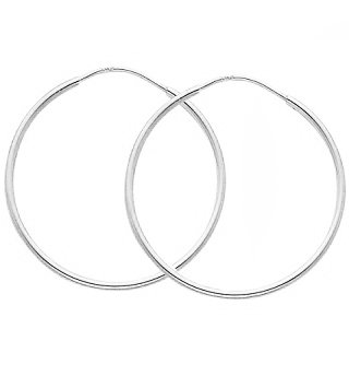 14K White Gold Thin 1MM Hoop Earrings 17MM or 0.70