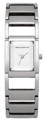 French Connection FC1100S - Reloj analógico de cuarzo para mujer con correa de acero inoxidable, color plateado