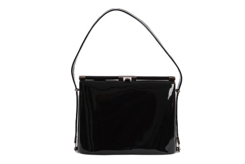 Black patent classic styled handbag overarm framed evening bag by Olga Berg