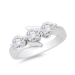 G/SI 0.30CT TRILOGY DIAMOND RING,9K WHITE GOLD , Size L