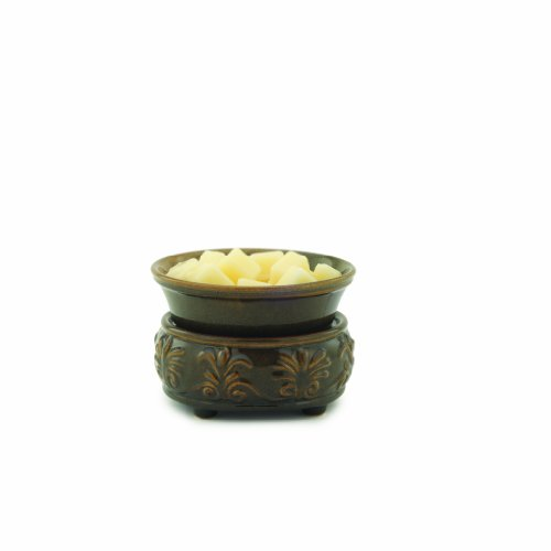 Candle Warmers Etc. Fleur de lis Ceramic Candle Warmer and Dish, Forest Floor