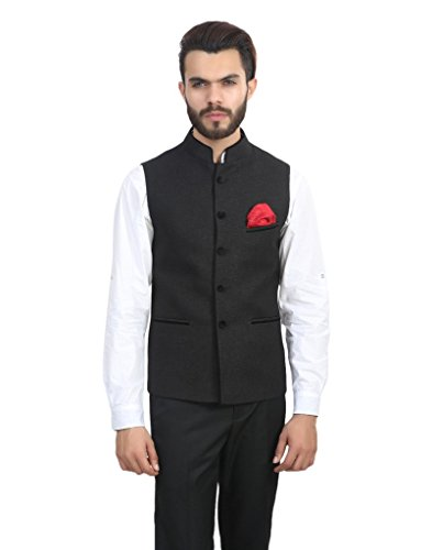 ManQ Black Slim Fit Party/Casual Men's Band Collar Waist Coat