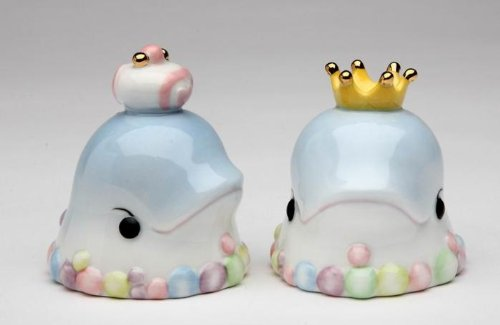 2.25 Inch Queen and King Dolphin Design Salt and Pepper Shaker Set