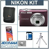 Nikon Coolpix S4000 Digital Camera Kit, - Plum- with 8GB SD Memory Card, Camera Case, Table Top Tripod, Spare Rechargeable Li-ion Battery EN-EL10, 2 Year Extended Service Coverage