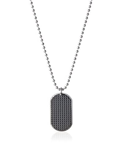Blackjack Black/Steel Stainless Steel Dimaond Cut Dog Tag Pendant with 24 Bead Chain