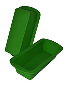 cmsHome 2 piece Silicone Loaf Pan set Medium Size 9 x 4 Green by cmsHome