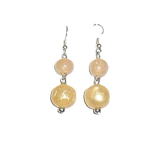 Beadworks Beadworks Beaded Earrings - Round Shape Beaded Earrings (Beige\/Sand\/Tan)