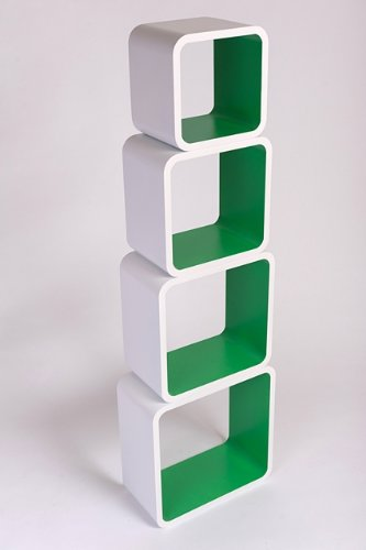 Retro Floating Shelves Bookcase Cube Shelving NEW 4pcs - White  &  Green LO02BZ