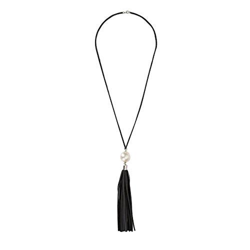 Contever® Moda Fascino Necklace Bianco Perla con Nappe di Cuoio Pendente a Lunga Catena dei Collana Maglione Gioielli (Nero Nappe)