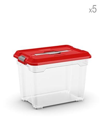 Kis Set 5 Moover Cajas S Trasparente / Rojo