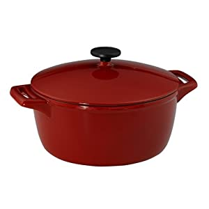 Tramontina 80131/003 Gourmet 6-1/2-Quart Cast-Iron Covered Casserole, Vibrant Red