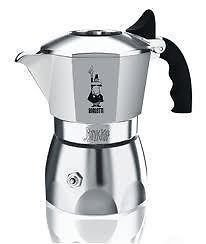 Bialetti Brikka - Stove Top Espresso Coffee Maker - Cast Aluminium with Black Acrylic Handle and Knob - Various Sizes