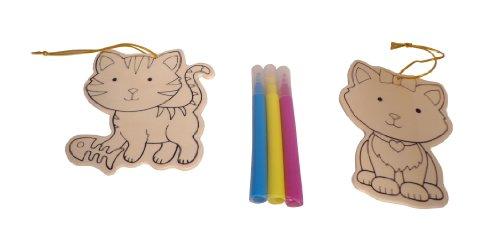 WeGlow International Cat Wood Ornament Kit, Makes 2 (Set of 3)