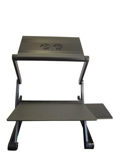 Workez Standing Desk Conversion Kit - Adjustable Sit To Stand Desk For Laptops & Desktops (Black W/ 2 Cooling Fans + 3 Usb Ports In Monitor/Laptop Stand. Perfect For A Laptop Standing Desk)