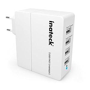 Inateck® 30W 4-Port USB Ladegerät Ladeadapter mit USB-Ladestecker intelligenter Ladekreis für Apple & Android Smartphones, Tablets und andere USB-ladende Geräte EU-Stecker [ 5V 1A/2.4A; Farbe: Weiß ]
