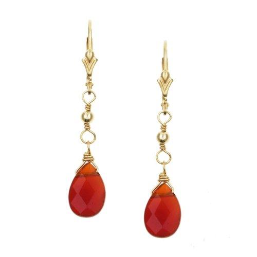 Charming Life 14k Goldfill Carnelian Teardrop Briolette Earrings