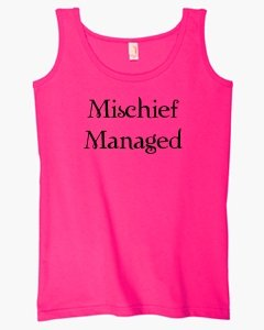 S.Horizon-Mischief Managed On Womens Tank Top Cotton~Hot Pink~Womens-Md