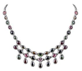 Retro Women's Queen's Style Natural Ruby Palace 37 Natural Colorful Stone 925 Sterling Silver Thai Silver Pendant Necklace for Party Global Limited Edition of Only 1