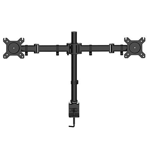 Duronic-DM252-Tisch-Monitorhalterung-fr-2-Monitor-Kipp-und-Drehfunktion-Kippen-45-Drehen-180-Rotieren-360