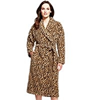Supersoft Shawl Collar Animal Print Dressing Gown