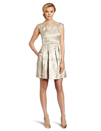 Eliza J Women's Cap Sleev Boat Neck Belted Dress With Topstitch Detail, CHP Beige, 6