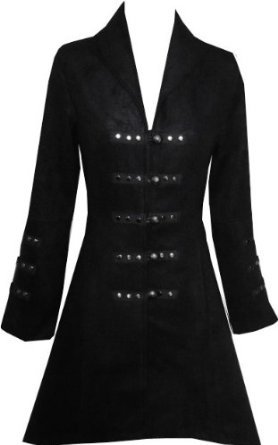 Victorian Black Gothic Military Long SteamPunk Indie Jacket Coat L 14