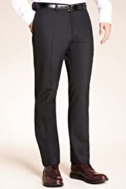 Limited Collection Super Slim Fit Flat Front Plain Trousers [T18-8615-S]